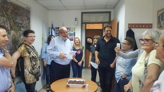 מרקוביץ' חוגג עם החברים בעבודה