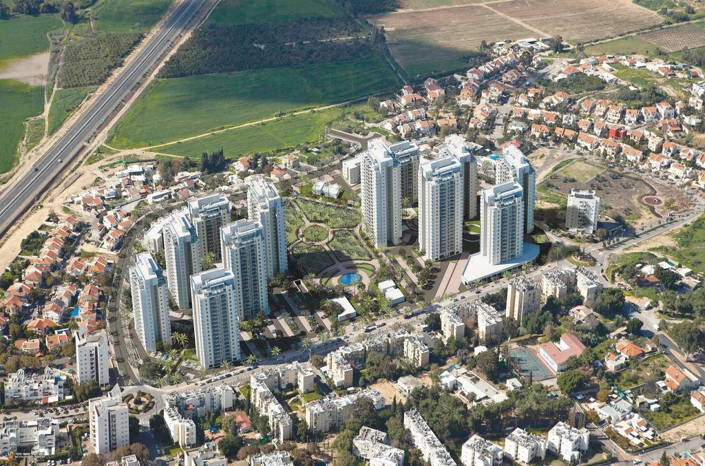 """מבט מלמעלה של פרויקט מערב רחובות של אביסרור. צילום: יח""""צ"""